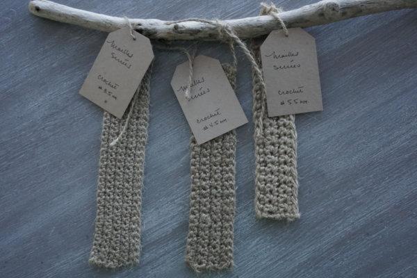 Exemple et échantillons de ficelle de jute avec différents crochets